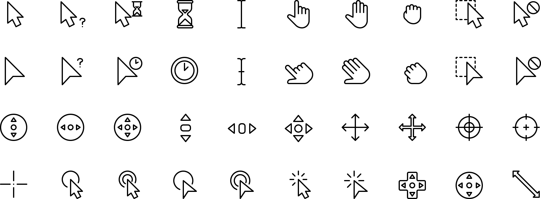 icon Selection and Cursors