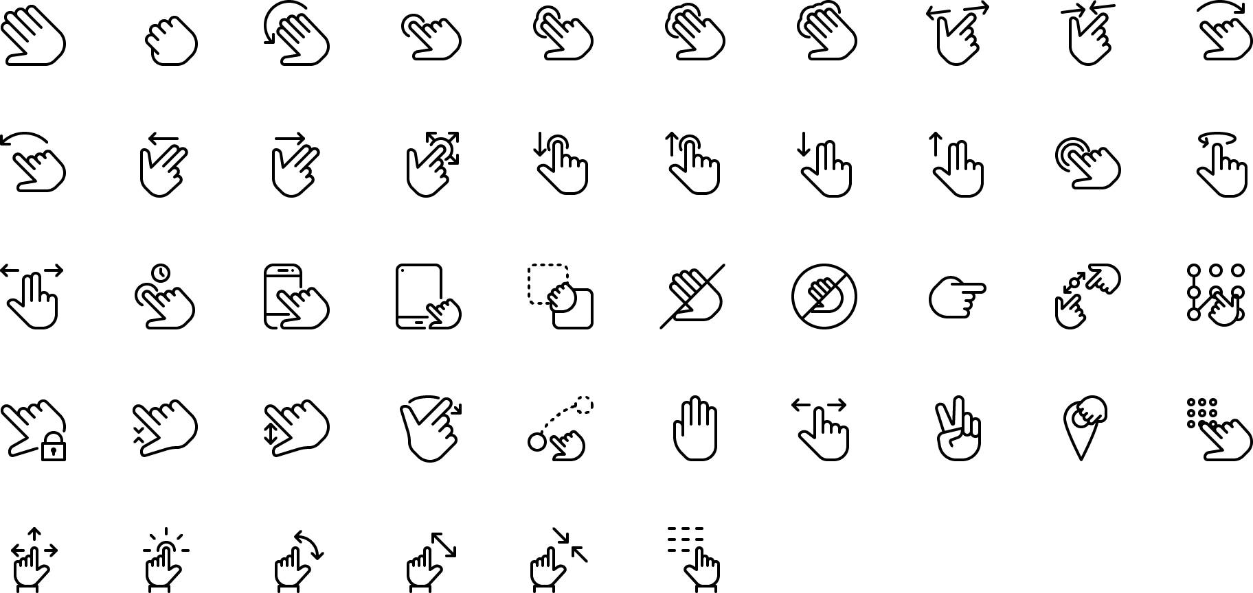 icon Touch Gestures